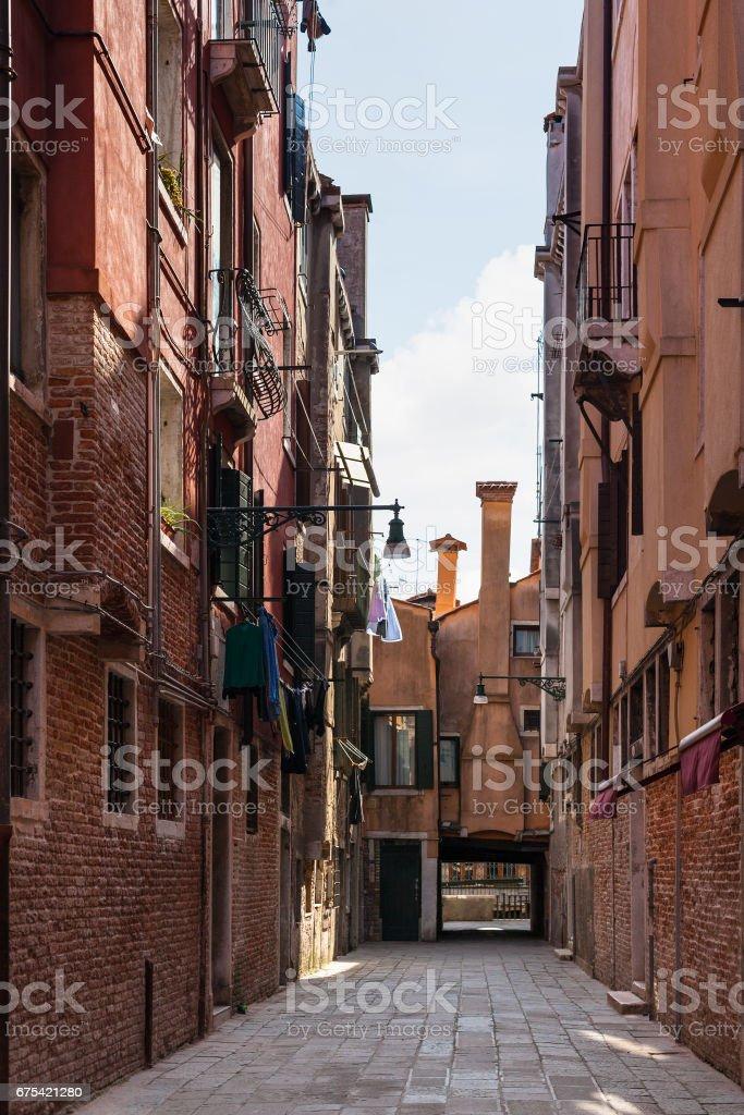 street on Campo Dei Frari in Venice city royalty-free stock photo