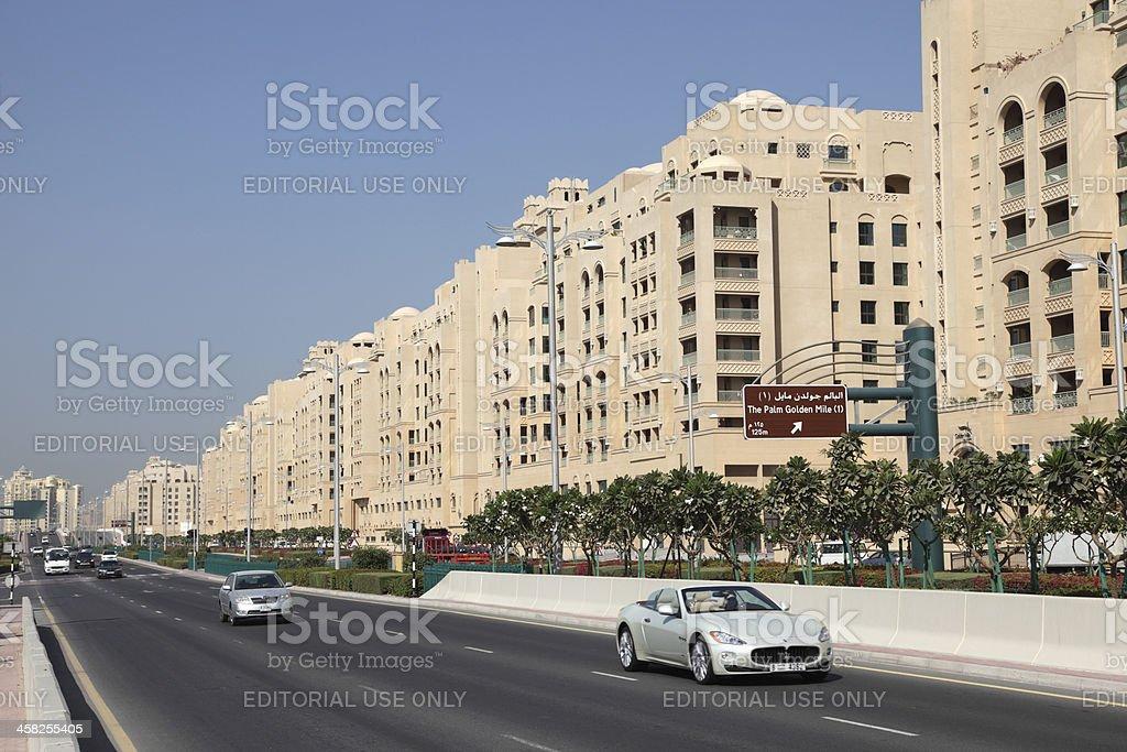 Street on Palm Jumeirah, Dubai stock photo
