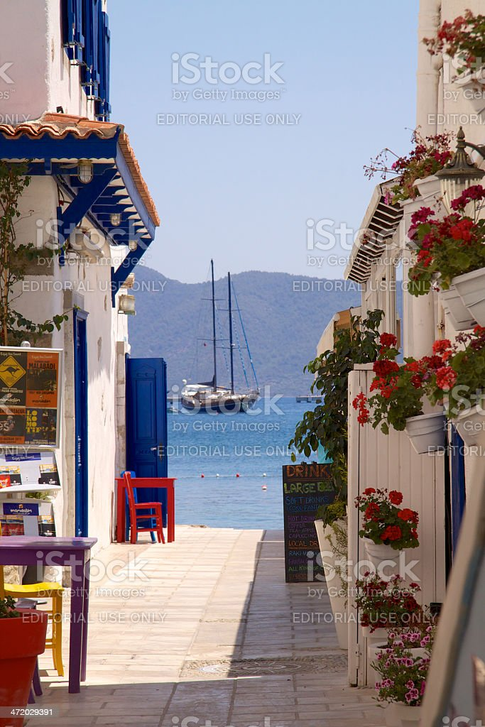 Street opening to sea in Bodrum stock photo