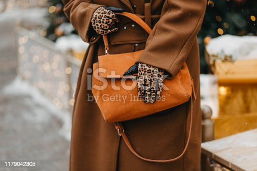 Outdoor fashion portrait of plus size woman wearing trendy animal, leopard print. Concept of autumn and winter clothes, outfit for glamour woman in city. Background of Christmas decorations. Copy space.