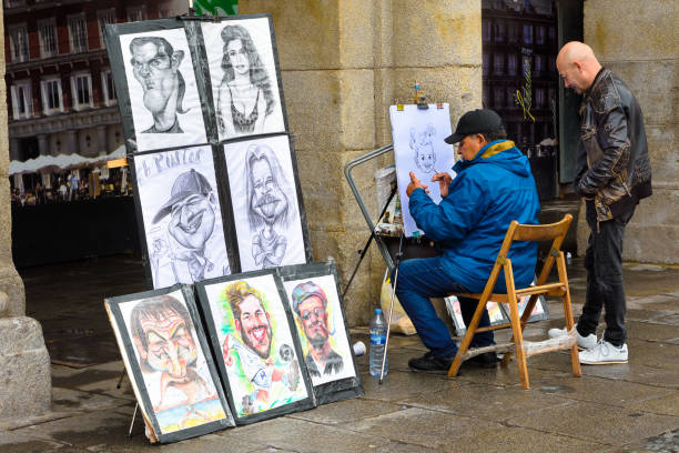 街頭畫家 - 諷刺畫 個照片及圖片檔