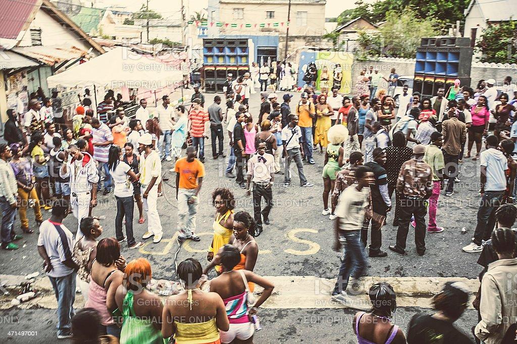 Street party in ghetto. stock photo