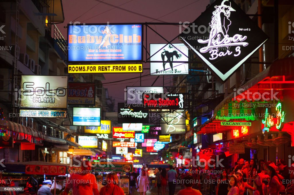 Street Pattaya Soi 6 With Bars Stock Photo - Download Image Now - iStock