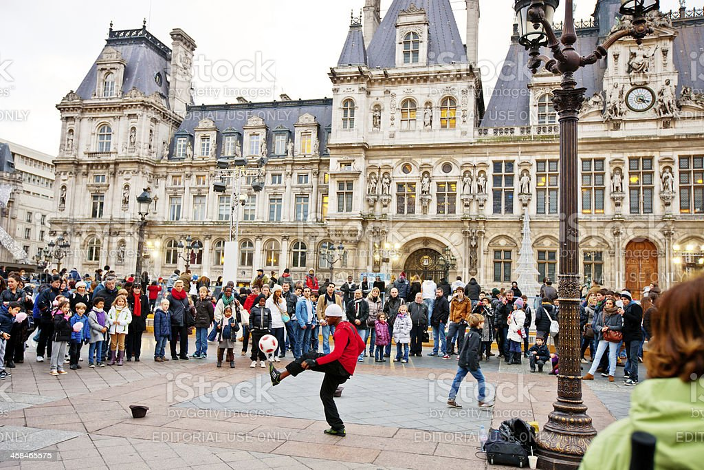Street Performance and crowd of spectators, Paris royalty-free stock photo