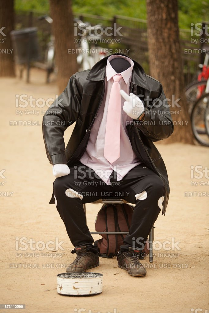 Street performance artist stock photo