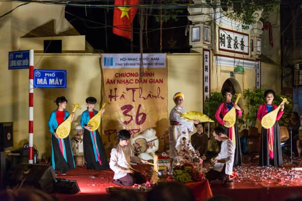 Street performance in Hanoi, Vietnam stock photo