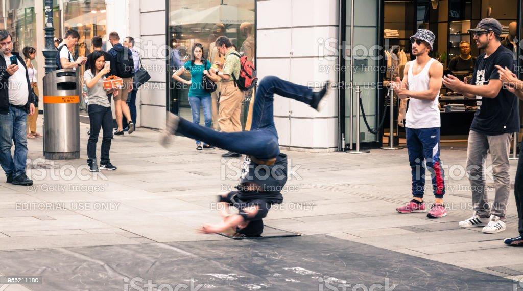 Street performance stock photo