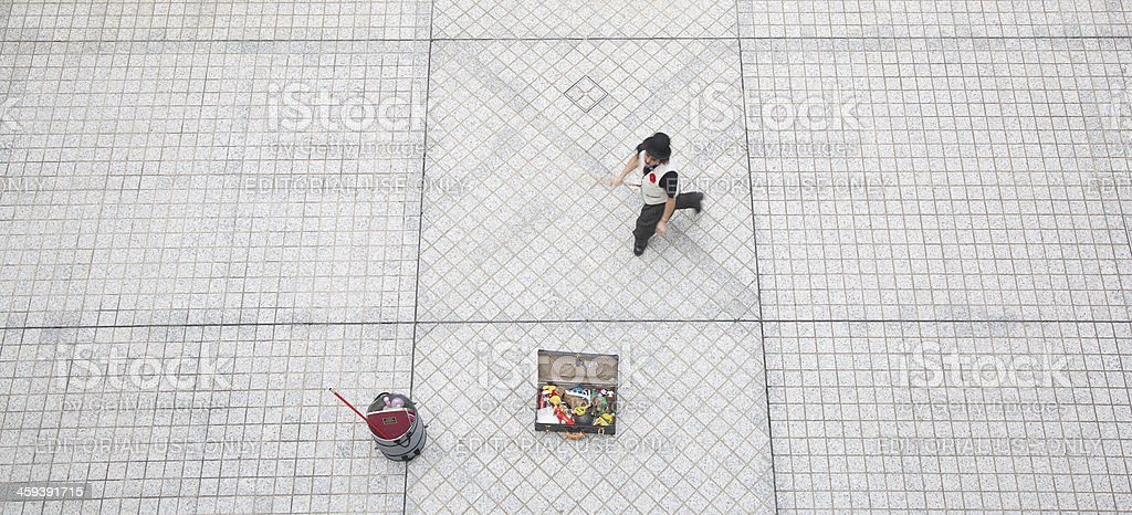 Street performer and copy space royalty-free stock photo