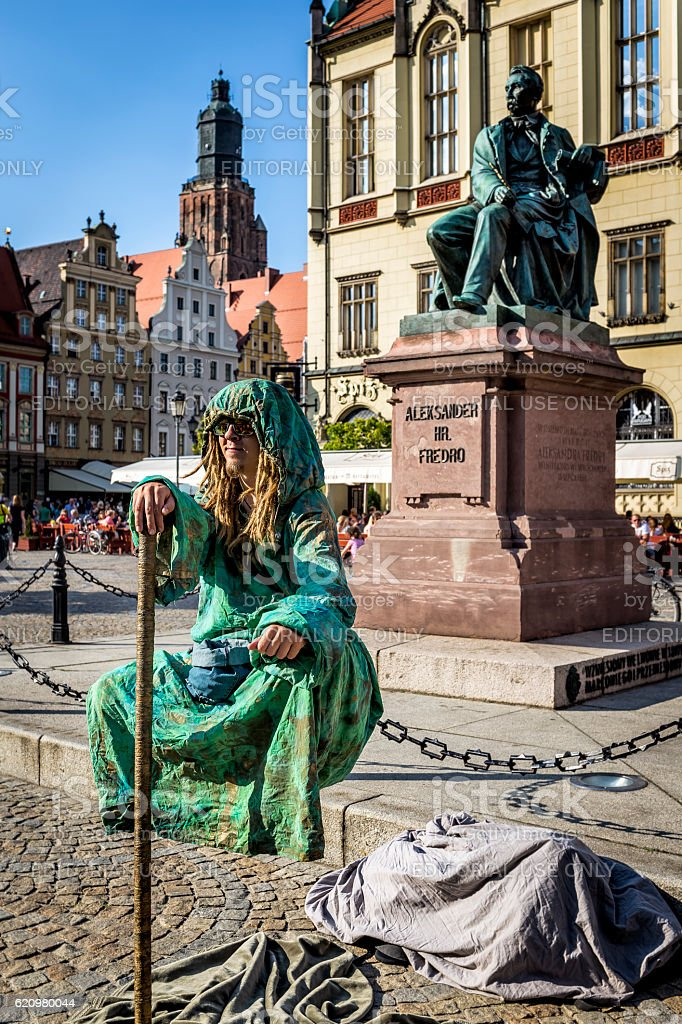 Street performer at Market Square, Wroclaw foto royalty-free