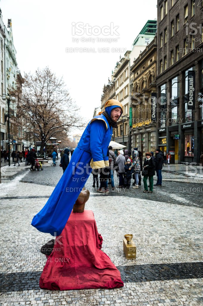 Street performer dressed as Genie coming out of a Lamp in Prague, Czech Republic stock photo