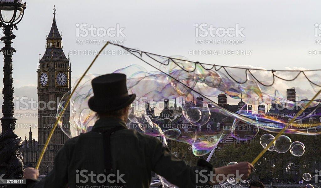 Street performer in London stock photo