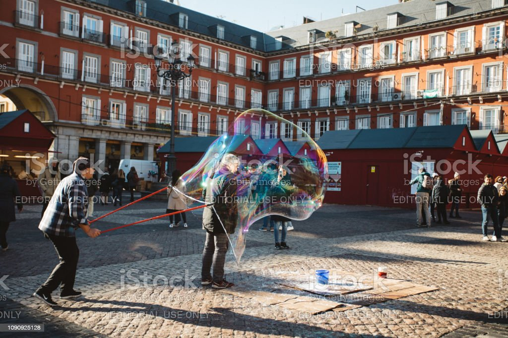 street performer in Madrid stock photo