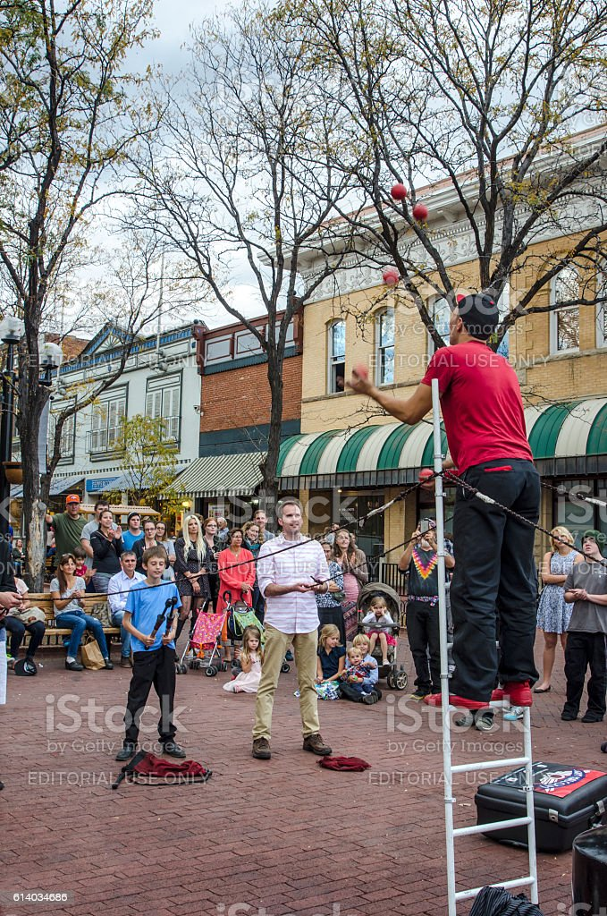 Street Performer on Pearl Street Mall in Downtown Boulder, Colorado stock photo