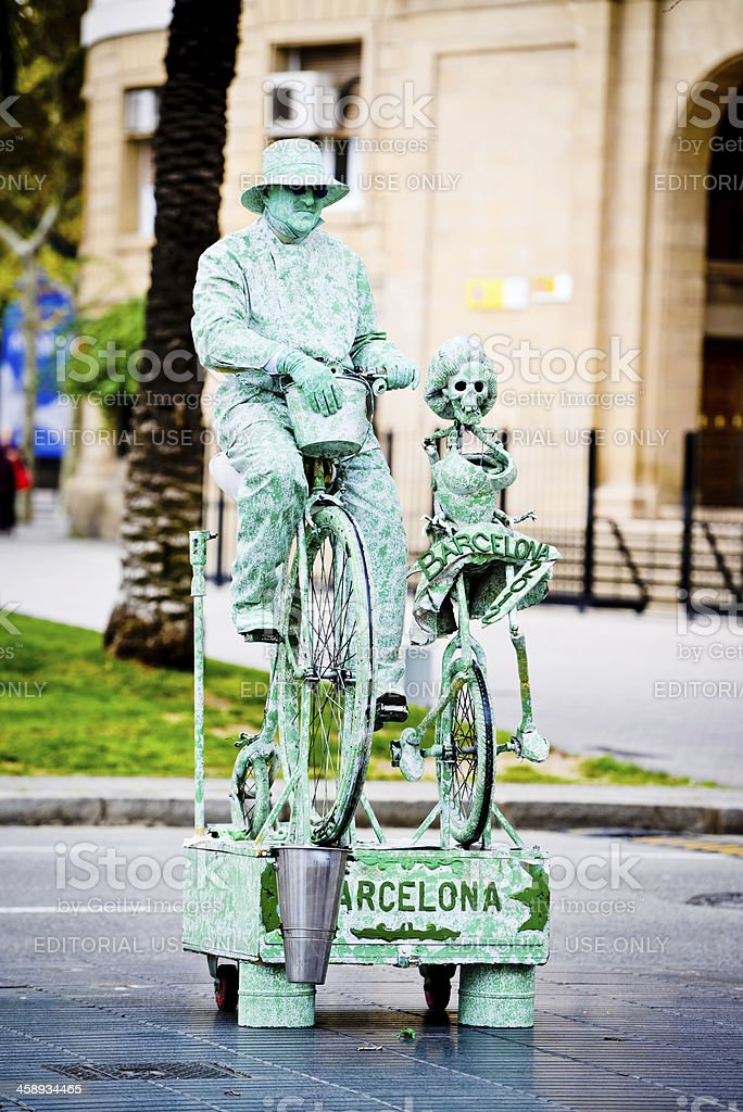 Street Performer standing imitating Statue on La Rambla, Barcelo royalty-free stock photo