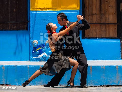 Buenos Aires, Argentina - December 15, 2009: Street performers demonstrate the tango in the historical district of La Bocca in Buenos Aires, Argentina.