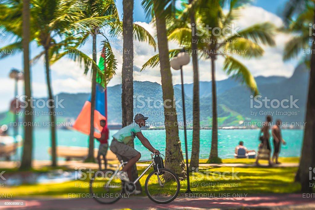 Street photograph taken at Perequê Beach, in Ilhabela, Brazil, - foto de acervo