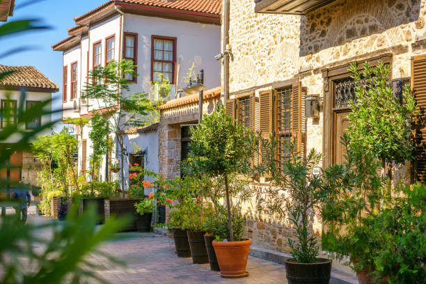 Street planted with greenery in Turkey in the old city stock photo