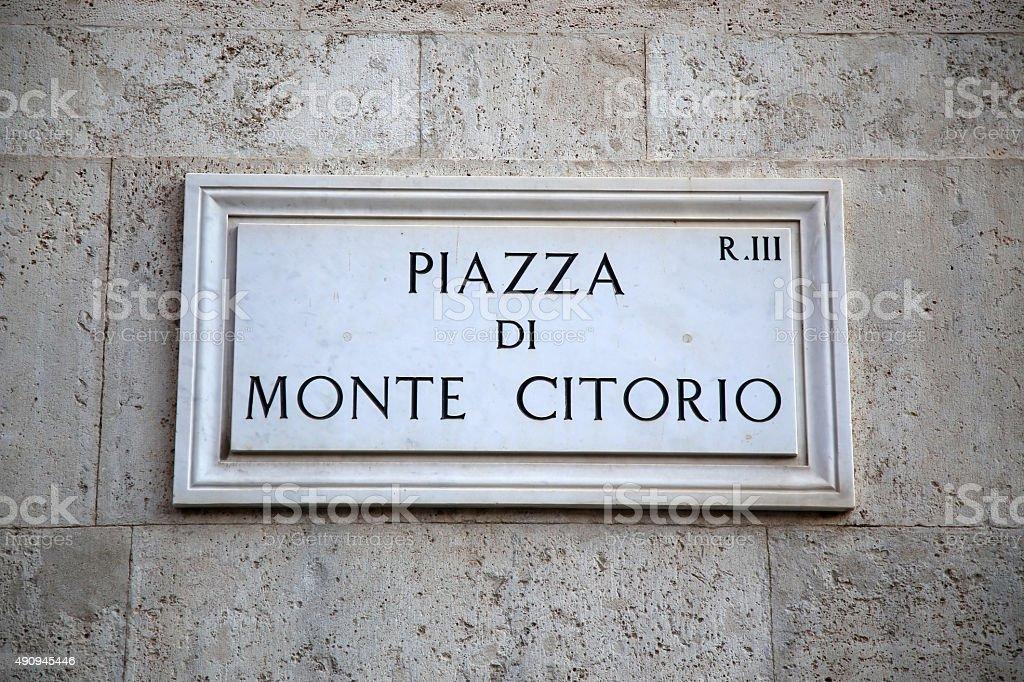 Street plate of Piazza di Monte Citorio in Rome, Italy stock photo