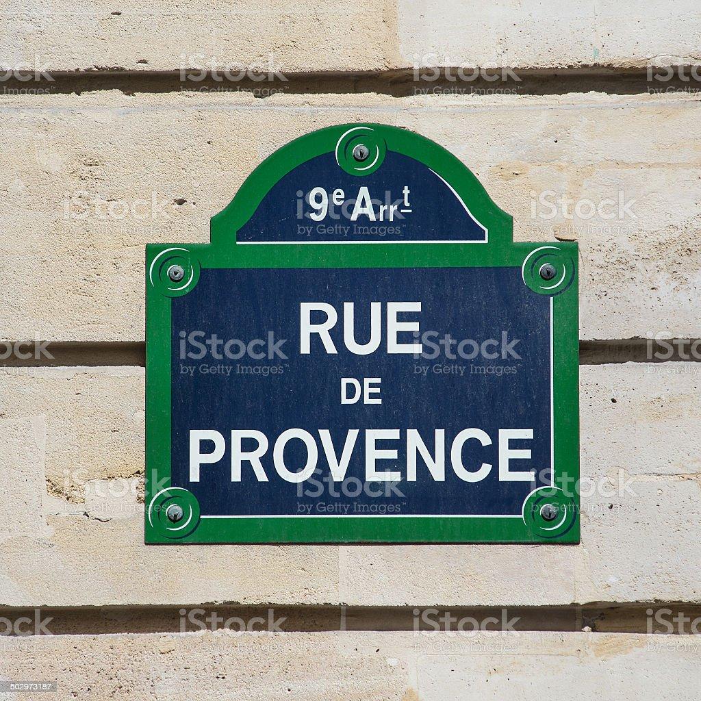 Street plate of Rue de Provence. Paris, France. stock photo