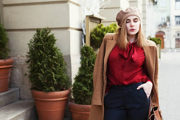 street portrait of young beautiful woman wearing stylish classic clothes - beautiful curvy girls stock photos and pictures