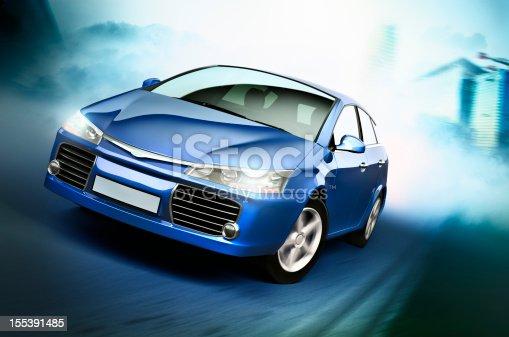Car speeding on a street.