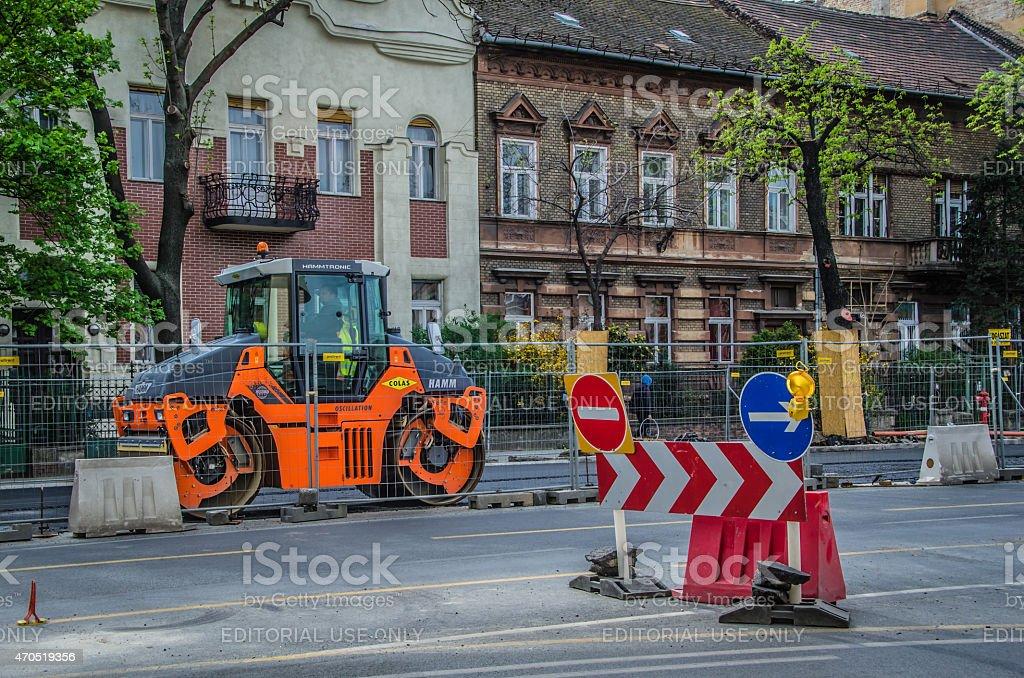 Street Reconstruction - Budapest, Hungary stock photo