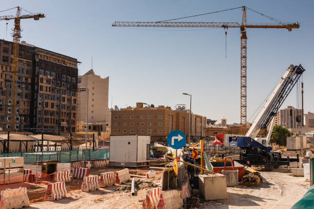 Street renovation in the Al Murabba neighborhood of Riyadh stock photo