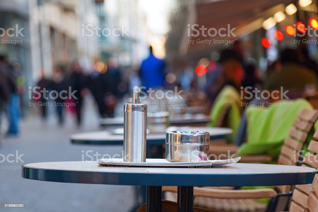 street restaurant at the Konigsallee in Dusseldorf, Germany stock photo
