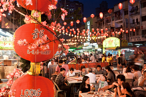 Street Restaurant Jalan Alor In Heart Of Kuala Lumpur Stock Photo - Download Image Now