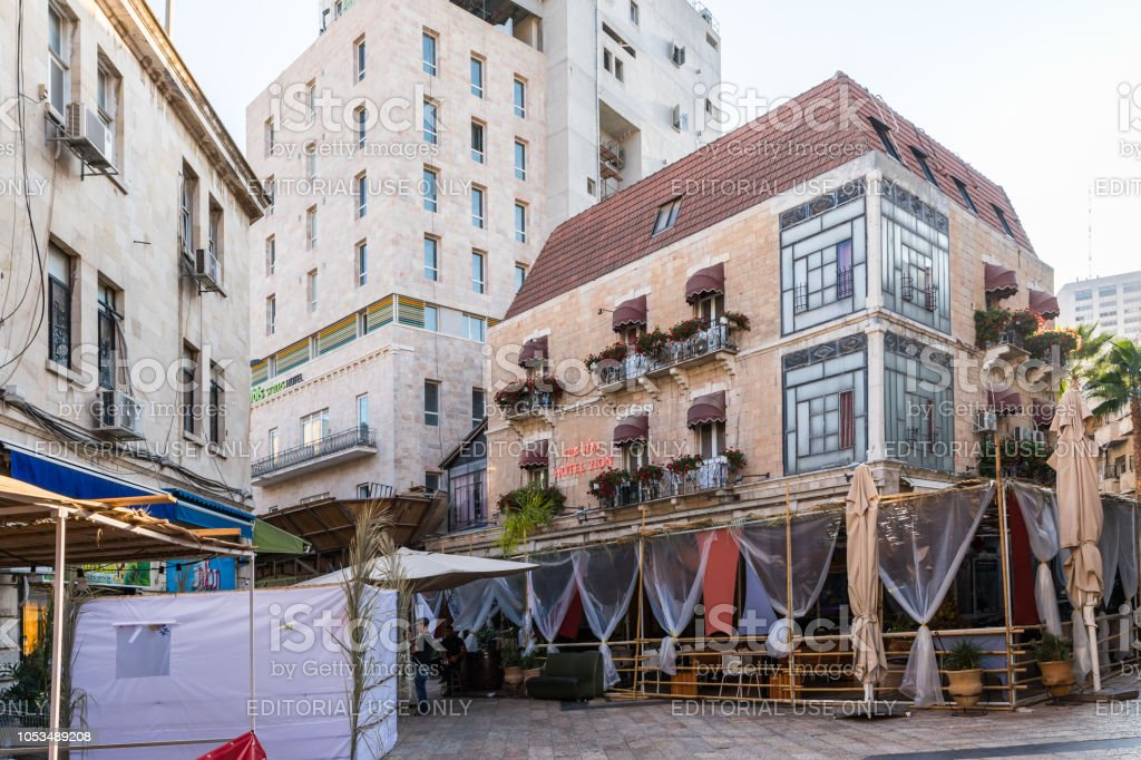 Street restaurant on one of the quiet streets of the city in...