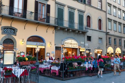 Street restaurants at evening on Piazza della Signoria