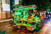 istock Street Rides for Transportation in Probolinggo Street at night, Indonesia 1082842026