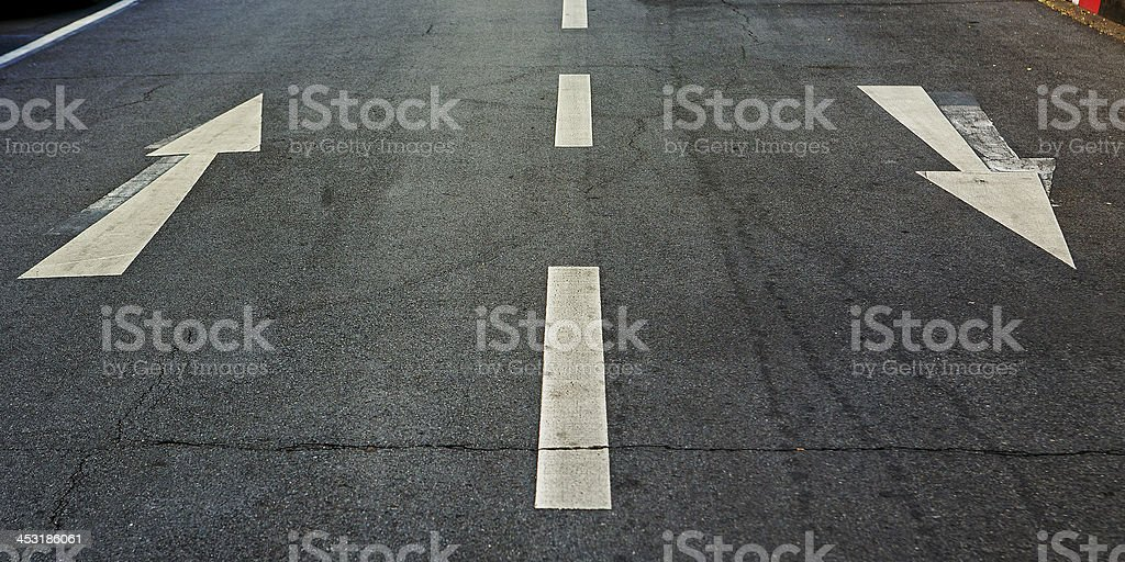 Street, road, arrow direction stock photo