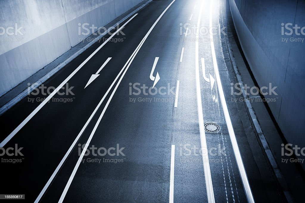 Street, road marking and motion blur royalty-free stock photo