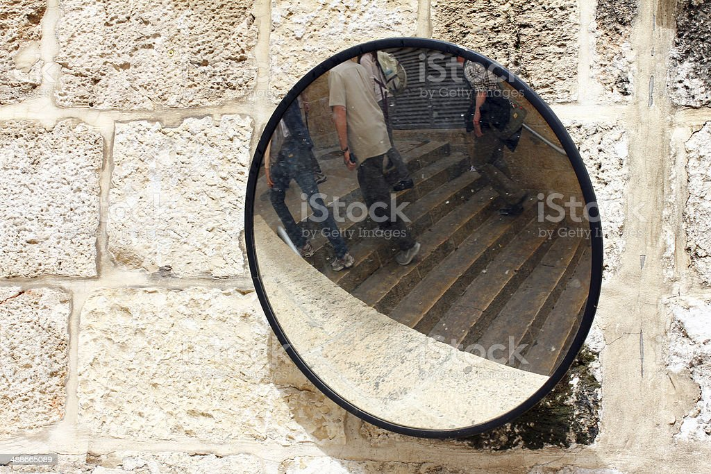 Street road safety security mirror in old town of Jerusalem stock photo