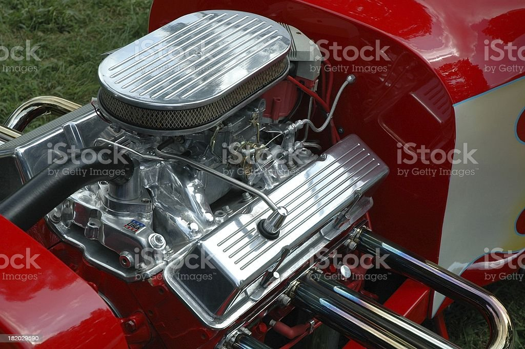 Street Rod Engine Detail - Pipes, Manifold, and Chrome royalty-free stock photo