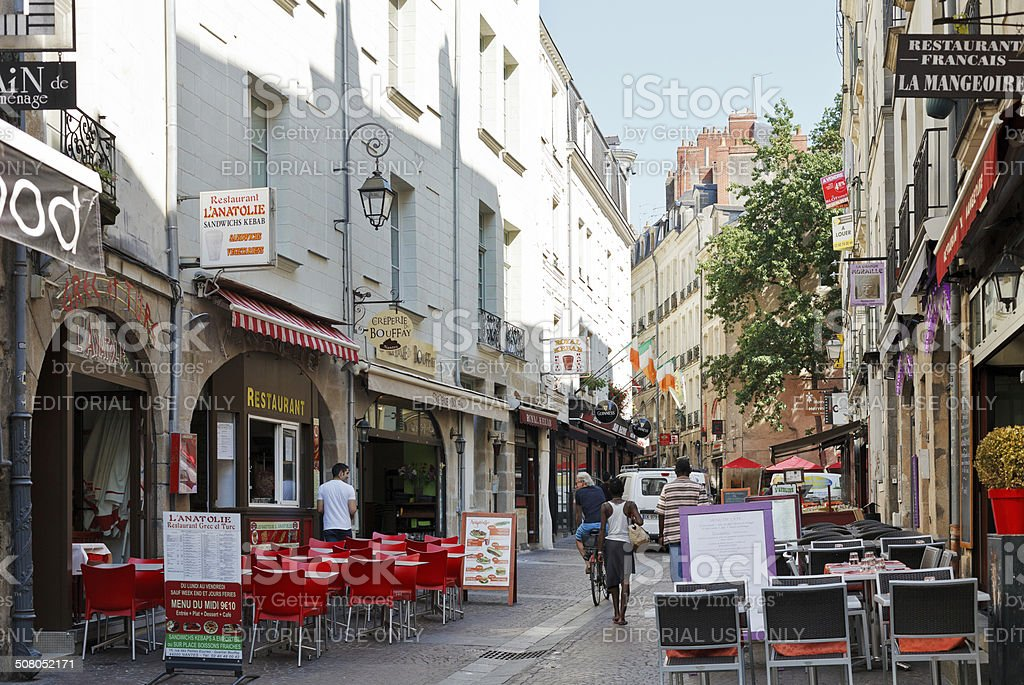 street rue de la baclerie in nantes france stock photo more pictures of apartment istock. Black Bedroom Furniture Sets. Home Design Ideas