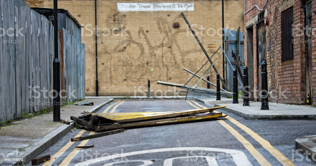 Street scene after the catastrofic London storm stock photo