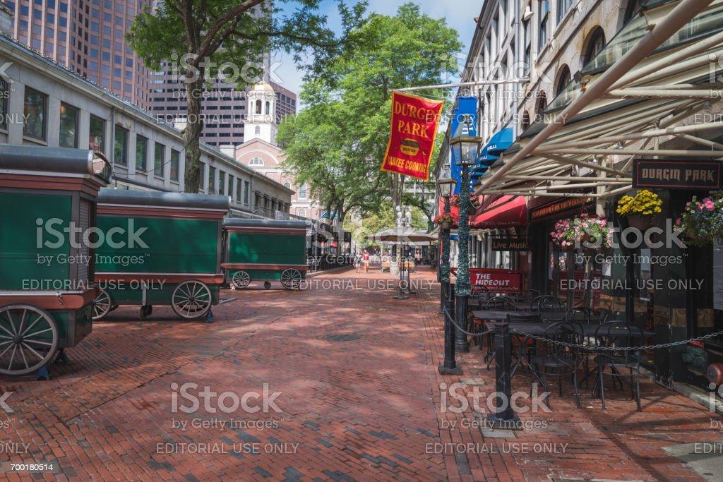 Street scene along the Freedom Trail in Boston, MA stock photo