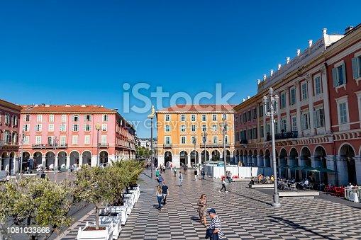 Nice, France - October 4, 2018: Street scene at Place Masséna in Nice, France.
