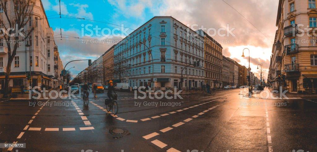 street scene at prenzlauer berg in panoramic view stock photo