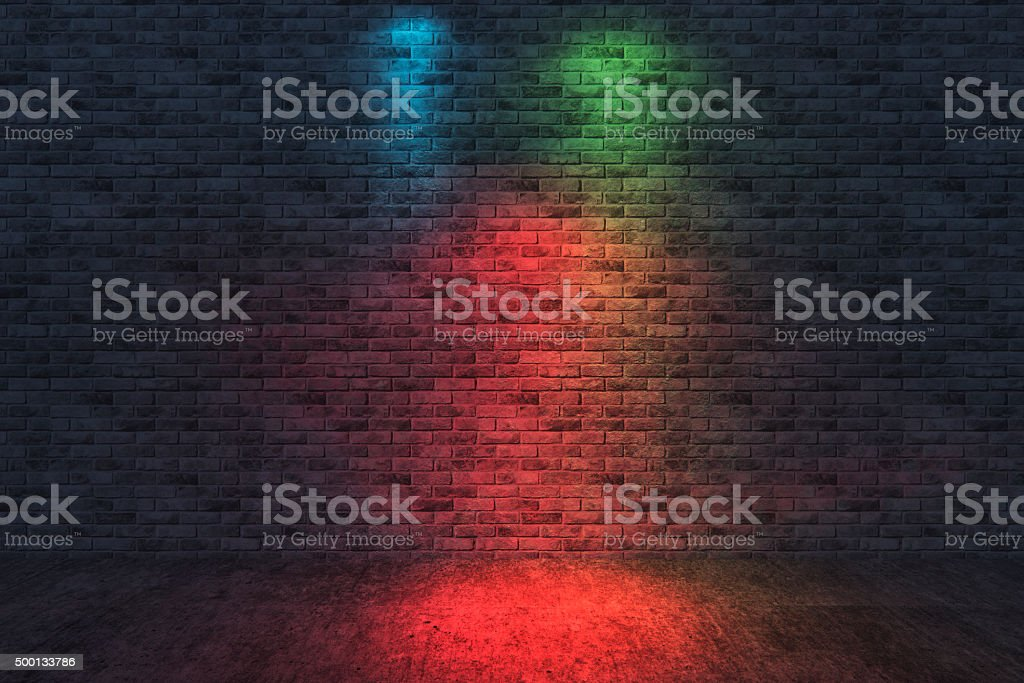Street scene, brick wall background, dark stock photo
