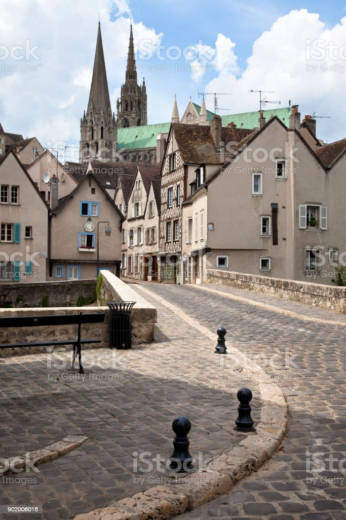 Street scene, Chartres, France REVISED from 2018-01-04 stock photo