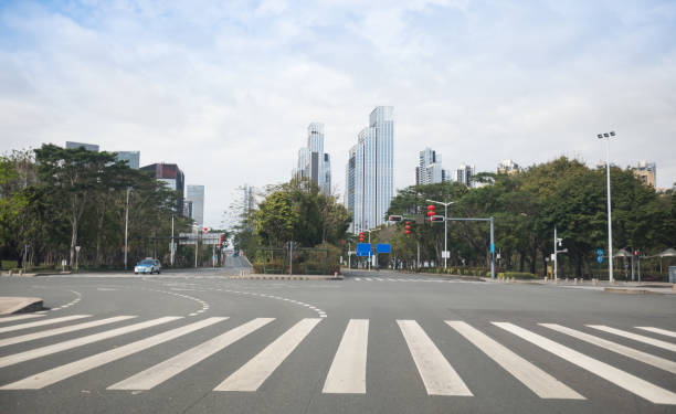 Street scene during the outbreak of Novel Coronavirus in Shenzhen city,China stock photo