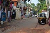 Adimalathura, Thiruvananthapuram district in the state of Kerala, India - November 13, 2011 - Street scene in Adimalathura, Thiruvananthapuram district in the state of Kerala, India.