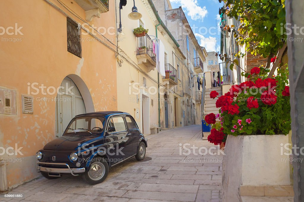 Street scene in an Italian village stock photo