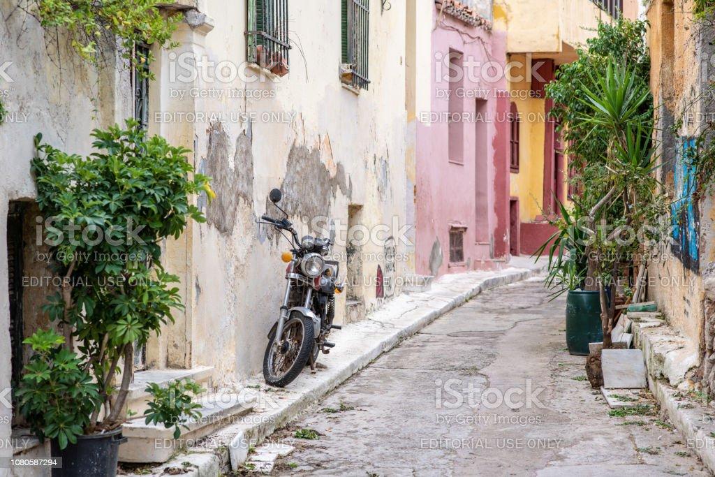 Street scene in Anafiotika in Athens, Greece stock photo