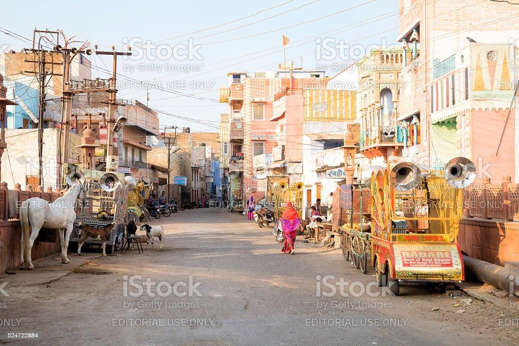 Street scene in Bikaner, Rajasthan, India stock photo