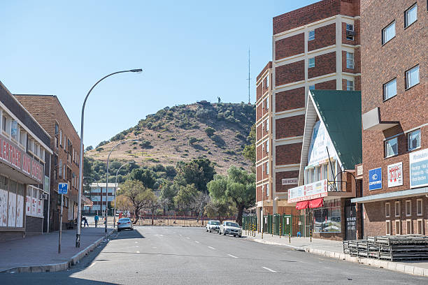Street scene in Bloemfontein with the statue of Nelson Mandela stock photo