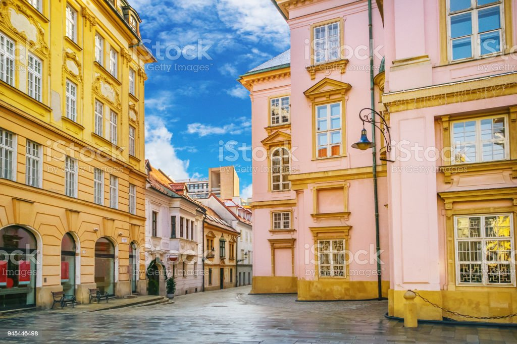 Street scene in Bratislava, capital city of Slovakia stock photo